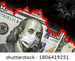 Small photo of COVID-19 impacts to business, dollar money and graph of stock market crash during coronavirus pandemic. Global financial crisis due to coronavirus forecast. World economy hits by novel corona virus.