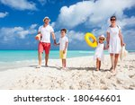 happy beautiful family on a... | Shutterstock . vector #180646601