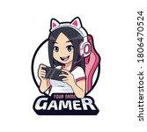 cute gamer character mascot... | Shutterstock .eps vector #1806470524
