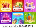 giveaway vector gift boxes and... | Shutterstock .eps vector #1806475324