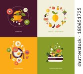 Set of flat design concept icons for food and restaurant. Icons for cooking, fruits and vegetables, restaurant and vegetarian food. | Shutterstock vector #180651725