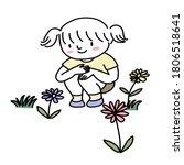 little girl squatting in meadow ...   Shutterstock .eps vector #1806518641