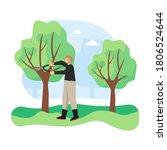 young man  gardener pruning or... | Shutterstock .eps vector #1806524644