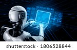Robot Humanoid Use Laptop And...
