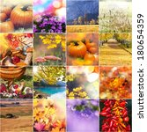 autumn orange collage | Shutterstock . vector #180654359