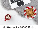 Laptop With Cocoa And Cookies...
