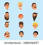 faces icon set   flat design  ... | Shutterstock . vector #180656657