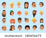 faces icon set  flat design ... | Shutterstock .eps vector #180656675