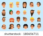 faces icon set  flat design ... | Shutterstock . vector #180656711