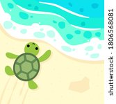 baby turtle is running to the... | Shutterstock .eps vector #1806568081