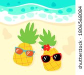 pineapples with sunglasses on... | Shutterstock .eps vector #1806568084