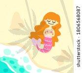 mermaid sunbathing on the beach ... | Shutterstock .eps vector #1806568087