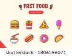fast food icon set cartoon... | Shutterstock .eps vector #1806596071