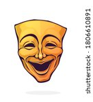 theatrical comedy mask. vintage ... | Shutterstock .eps vector #1806610891
