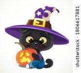 Cute Cartoon Baby Black Cat...