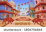 2021 year of the bull.panorama... | Shutterstock .eps vector #1806706864