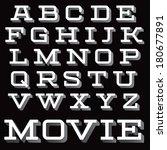 vintage vector slab serif font. ... | Shutterstock .eps vector #180677891