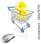 Dollar sign in shopping cart and computer mouse, concept for affiliate earning or making money on the internet, or other online finance concept - stock vector