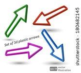 set of 3d plastic arrows.... | Shutterstock .eps vector #180682145