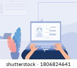 person making his online...   Shutterstock .eps vector #1806824641