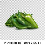 hot green pepper on transparent ... | Shutterstock .eps vector #1806843754