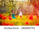 happy woman and child in the... | Shutterstock . vector #180684791