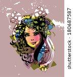 retro girl | Shutterstock .eps vector #180687587