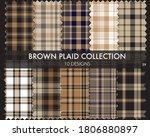 Brown Plaid  Checkered  Tartan...