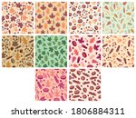 set of autumn themed seamless... | Shutterstock .eps vector #1806884311