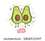 cute avocado couple in love.... | Shutterstock .eps vector #1806911947
