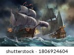 3d Pirates Ships In Sea Storm