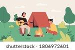 tourist camping flat vector... | Shutterstock .eps vector #1806972601
