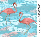 seamless pattern with flamingo... | Shutterstock .eps vector #180697445