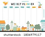weekly planner with nordic... | Shutterstock .eps vector #1806979117