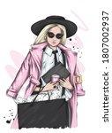 beautiful woman  in a stylish...   Shutterstock .eps vector #1807002937