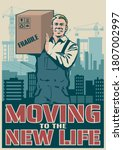 moving company retro style... | Shutterstock .eps vector #1807002997