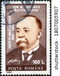 Small photo of MOSCOW, RUSSIA - APRIL 07, 2018: A stamp printed in Romania shows Ion Nae Ionescu (1890-1940), Magazine Mathematics, 1995