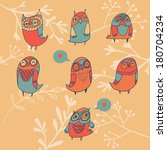 set of 7 colorfully adorable... | Shutterstock .eps vector #180704234