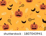 halloween orange pattern... | Shutterstock .eps vector #1807043941
