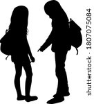 silhouettes of a children with... | Shutterstock . vector #1807075084