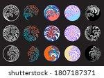 japanese water wave vector set. ... | Shutterstock .eps vector #1807187371