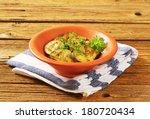 pickled sliced zucchini  served ... | Shutterstock . vector #180720434