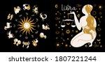libra zodiac sign. horoscope... | Shutterstock .eps vector #1807221244