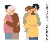 husband and wife couple hug... | Shutterstock .eps vector #1807222834