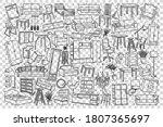 furniture doodle set.... | Shutterstock .eps vector #1807365697