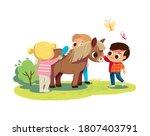 little boy feed the pony. girl... | Shutterstock .eps vector #1807403791