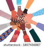 open hands up of different... | Shutterstock .eps vector #1807436887