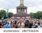 Small photo of BERLIN, GERMANY August 29, 2020. Demo in Berlin with the police at the Victory Column against the Corona Covid-19 regulations and for human rights.