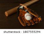 Leather Baseball Ball  Bat And...