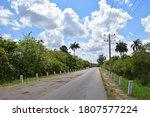 Empty Country Road In Cuba